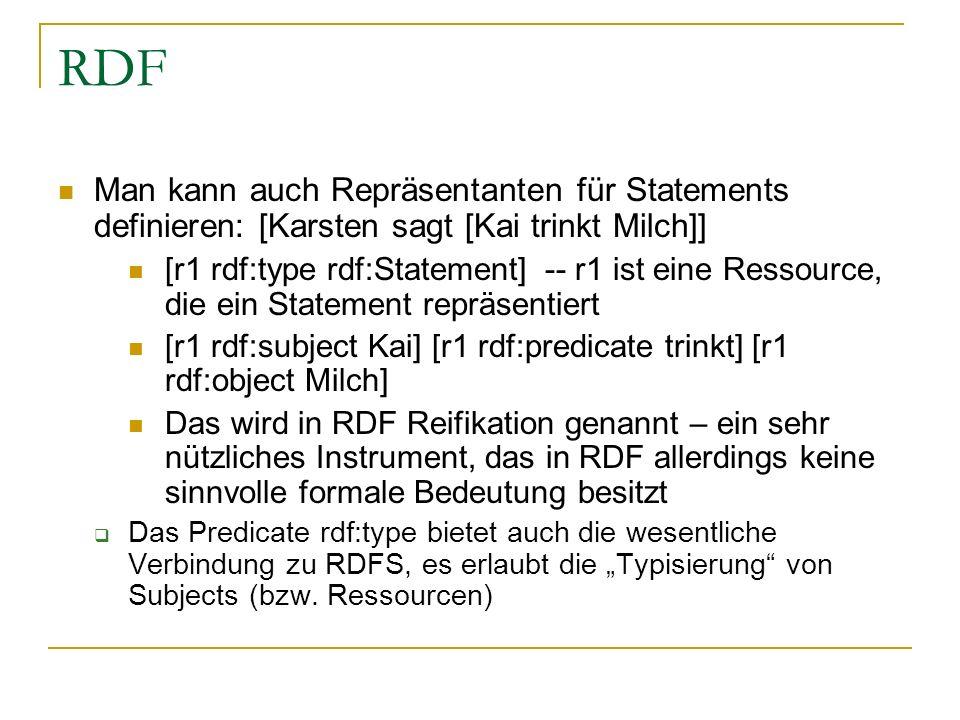 RDF Man kann auch Repräsentanten für Statements definieren: [Karsten sagt [Kai trinkt Milch]]